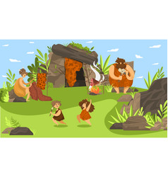 Primitive people family happy prehistoric vector