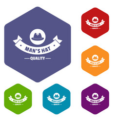 Quality hat icons hexahedron vector