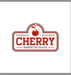 red cherry sauce barbecue stamp vector image