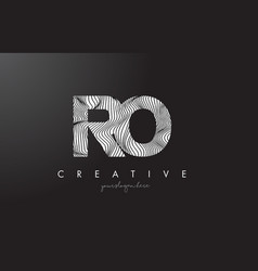 ro r o letter logo with zebra lines texture vector image
