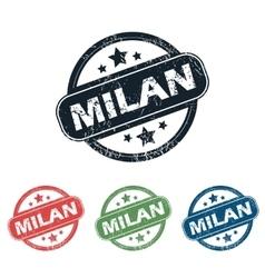 Round Milan city stamp set vector