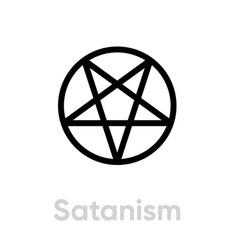 satanism religion icon editable line vector image