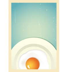 Scrambled egg on plate Retro background vector