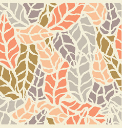 seamless pattern with hand drawn natural leaves vector image