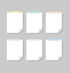 Set note paper template vector