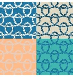 Set of 4 marine rope loop seamless pattern vector