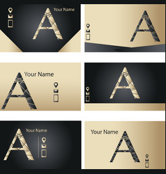 set of black and golden business card with letter vector image