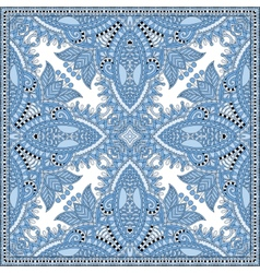Silk blue colour kerchief square pattern design vector