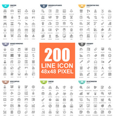 simple set thin line icons vector image