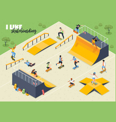 skateboard isometric horizontal vector image
