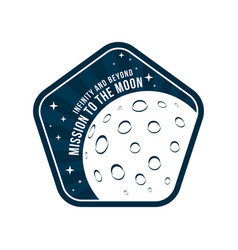 space badge with moon and crater texture in view vector image
