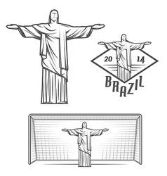 Statue jesus christ and rio de janeiro vector