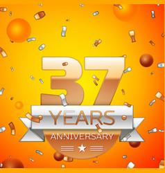 thirty seven years anniversary celebration design vector image