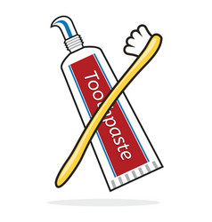 toothbrush and toothpaste tube vector image