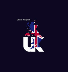United kingdom initial letter country with map vector