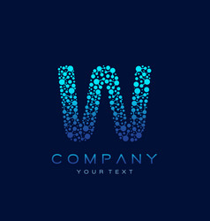w letter logo science technology connected dots vector image