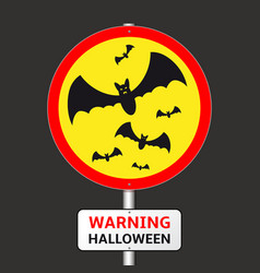 warning halloween road sign with bats silhouettes vector image