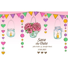 Wedding invitation with decoration of hanging jars vector