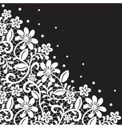 white guipure border with pearls on black vector image