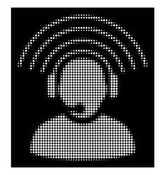 white halftone operator radio signal icon vector image