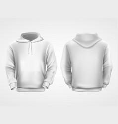 white hoodie sweatshirt sportswear mockup vector image