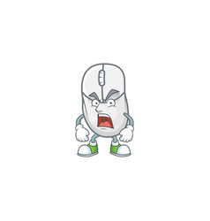 White mouse cartoon character with angry face vector