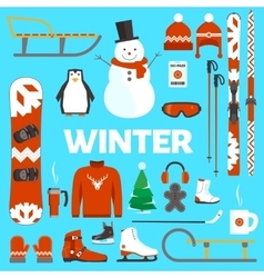 Winter holidays objects vector image vector image