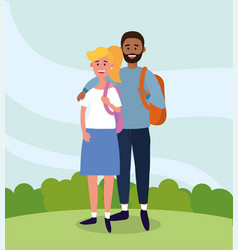 woman and man couple studies with backpack vector image