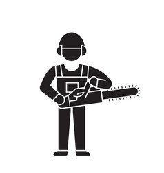 Woodcutter with chainsaw black concept icon vector