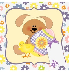 Cute template for Easter greetings card vector image vector image