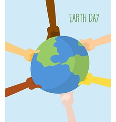 Earth Day People hands holding Earth vector image