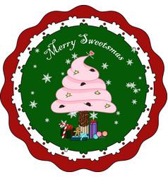 puffy cream sweet sticks christmas tree vector image