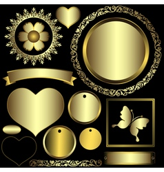Set metal gradient frames and banners vector image vector image