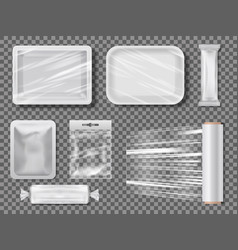 transparent food packages from polythene vector image