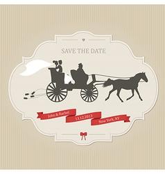 Vintage wedding invitation with retro carriage vector image