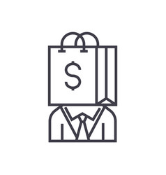 consumerism line icon sign vector image