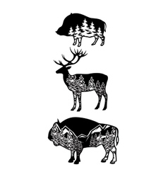 stylized image wild boar deer bison with vector image