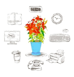 Business office stationery supplies icons set vector image vector image
