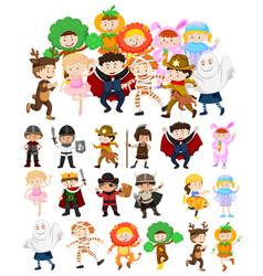 children in halloween costumes vector image vector image