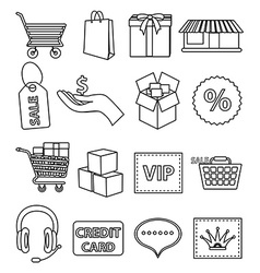 Online shopping line icons set vector image vector image