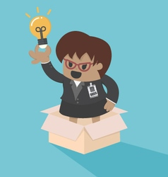 big boss business woman outside the box vector image