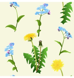 Dandelions and blue flowers seamless pattern vector image vector image