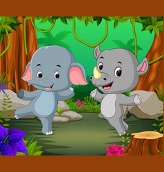 elephant and rhino in the forest vector image