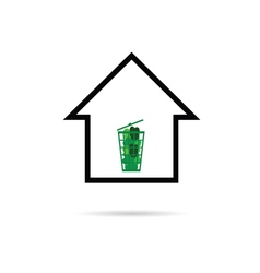 house with green basket vector image vector image