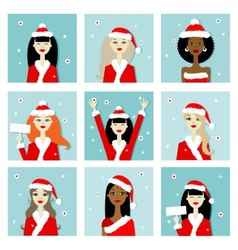 Santa girls christmas postcards for your design vector image vector image