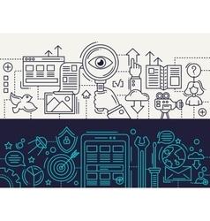 Search Engine App Development - line design vector image