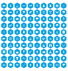 100 forest icons set blue vector image