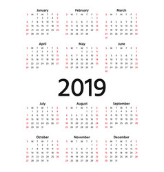 2019 calendar year template planner vector image