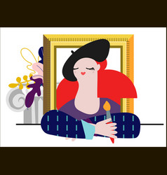 a female painter with decorative vector image