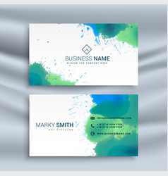 Abstract business card with ink splash design vector